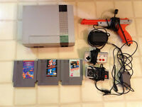 nintendo system with games and accessories
