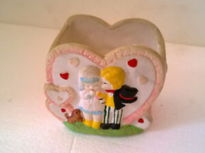 Decorative clay heart shaped container excellent condition