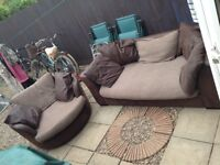 Large swirl cuddle chair and 3 seater sofa