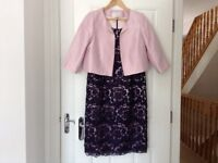Jacques vert dress and pale pink jacket mother of bride with shoes bag and fascinator
