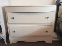 Cream colored 2 drawer chest