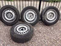 VW T5 steel wheels with part worn tyres 205/65 R16C
