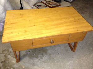 Antique pine coffee table with drawer for sale