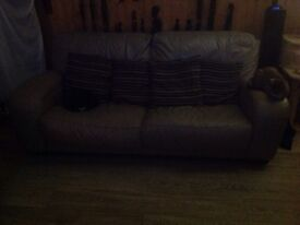 3+2 seater soft grey leather sofas