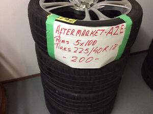 "ONE SET OF USED AEZ AFTERMARKET ALLOY RIMS-18"" 5X100"