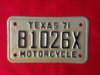 1971 motorcycle license plate from Texas