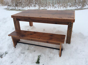 Reclaimed table and bench