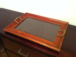 Antique Imperial Russian Wooden Glass Tray with Bronze Handles 1
