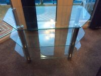 TV table glass shelves