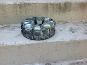 Patio table candle holder
