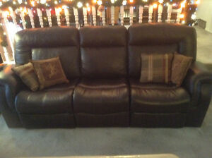 Brown leather reclining Palliser sofa couch