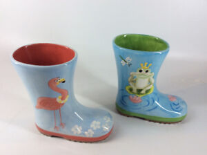 Beautifully Decorated Ceramic Boot Planters and More.....