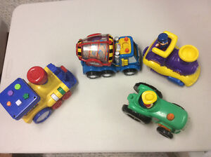 Toddler toys - very colourful - tractor, trains and cement mixer