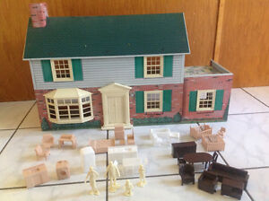 Antique Marx Brand Dollhouse with Original Figures and Furniture