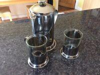 Coffee percolator and glasses