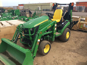 JOHN DEERE 1025R WITH BACKHOE,54 AUTO CONNECT DECK AND BAGGER