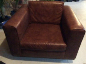 Faux Brown Leather Retro Chair