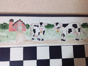 Vintage 1995 hand painted Cows vs Chickens checkers/chess wood Cambridge Kitchener Area image 3