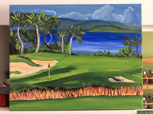 Golf course acrylic painting