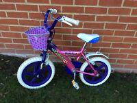 """Girls Bike 13"""" wheels 9.5"""" frame with basket 3-5 years"""
