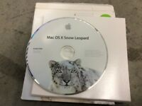 Snow Leopard Mac OS X 10.6 original disc and box and Apple stickers