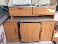 Camper conversion kitchen units fridge hob sink
