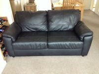 18 Month 2 Seater Black Leather Sofa Very Good Condition