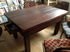 Vintage French oak table with drawer