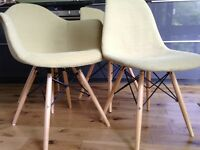 4 eames style chairs upholstery in lime green