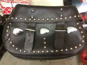 Saddle bags leather studded