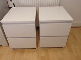 2 ikea malm painted bedside tables