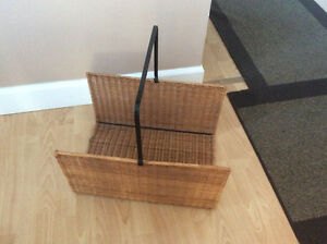 wicker fireplace wood holder