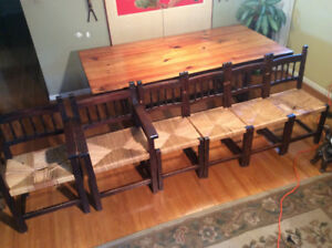 Vintage Solid Pine Harvest Table &  6 Wood chairs