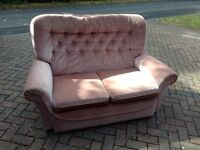 Traditional 3 Piece Suite - Pink Velour Sofa and Chairs