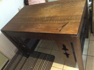 Antique solid oak Mission style library desk