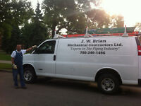 Certified Plumber/Gas Fitter.  J.W. Brian Mechanical.