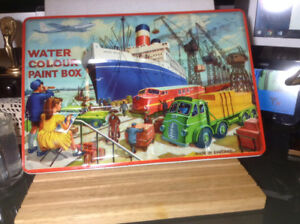 Vintage tin WATER COLOR PAINT BOX PAGE LONDON ENGLAND Royal Blue