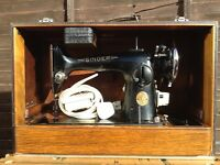 Antique Vintage Singer Sewing Machine with Original Case & Accessories Converted to Electric