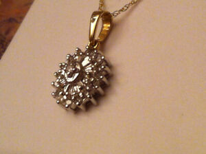 Gold yellow solid diamond necklace. [ all marked 10K ]
