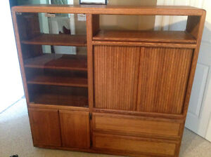 Solid Oak Entertainment Center - $125 (Abbotsford)