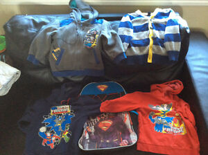 Lot of EUC 4T Superhero hoodies and button up cardigan