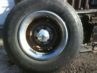 """Chev 15"""" 6 bolt rims and tires"""