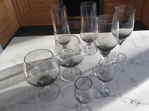 Contemporary smoked beverage glasses