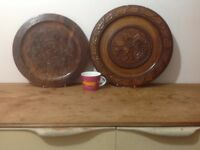 2 large vintage wooden carved treen wall plates.