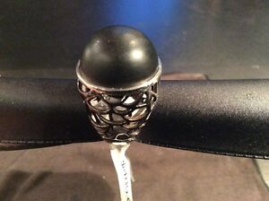 "WOMANS BLACK ONYX 925 STERLING RING ""NEW' West Island Greater Montréal image 1"