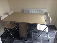 Folding table and 4 chairs