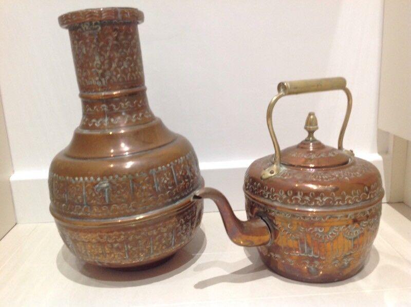 Vintage Moroccan Kettle and Vase