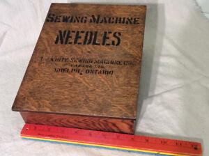 "Antique oak ""SEWING MACHINE NEEDLES"" box !"