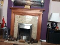 fire surround with marble hearth and backing and electric fire