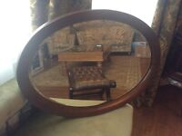 Lovely antique large oval mirror